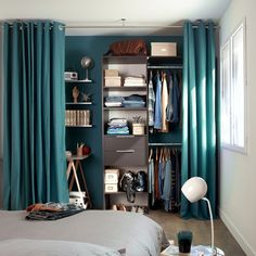 53 Elegant Closet Design Ideas For Your Home. Unique closet design ideas will definitely help you utilize your closet space appropriately. An ideal closet design is probably the only avenue . Curtains For Closet Doors, Bedroom Closet Doors, Room Doors, Bedroom Storage, Bedroom Decor, Curtain Closet, Curtain Wardrobe Doors, Bedroom Ideas, Room Divider Curtain
