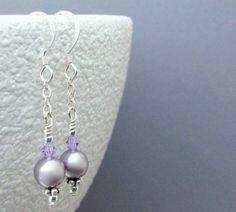 Shoply.com -Mauve Pearl Swarovski Crystal Silver Earwire Earrings. Only $13.00