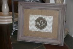 Linen Art Piece in a Handpainted Frame with by TheBurlapBroad, $55.00