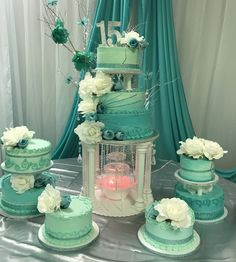 Teal15 cake Wedding Cake Cookies, Wedding Cupcakes, Quinceanera Decorations, Quinceanera Dresses, Coca Cola Cupcakes, Quince Cakes, Elsa Cakes, Lebanese Wedding, Green Cake
