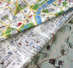 London Tokyo New York City Map Fabric