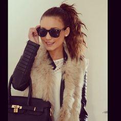 Fur vest & messy hair