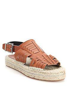 Rebecca Minkoff Gabriel Huarache Leather Espadrille Sandals - Black -