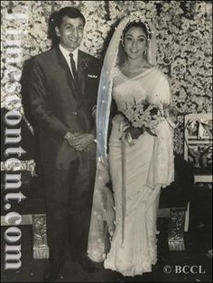 A versatile actress of Bollywood, Mala Sinha and her husband Chidambar Prasad Lohani strike a pose in smile after their wedding ceremony in Bombay on February 16, 1968.
