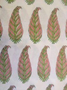 Hand blocked paisley design on cotton silk