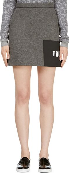 MSGM - Grey Neoprene 'Truth' Skirt