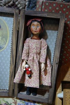 Beautiful carved wood Hitty doll in a wooden box for storage. eBay 3/9/2018 bidding starts at $99 or BIN $180