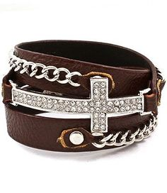 Diamond Cross Brown Wrap Bracelet - Silver, Curb Chain
