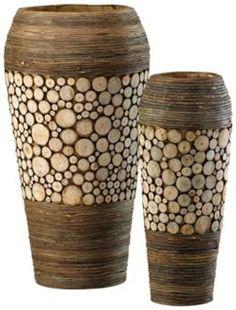 Set of 2 Birch and Walnut Wood Slice Oblong Vases (R0701)