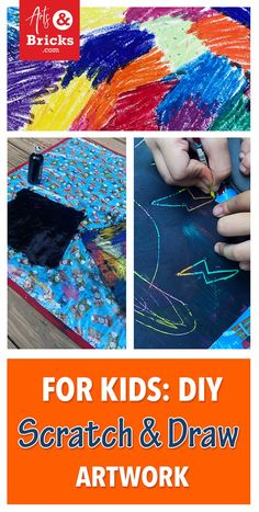 Spend the afternoon crafting with your littles making DIY Scratch and Draw Artwork. This simple project uses oil pastels, black paint, and card stock to make rainbow drawing fun. Watch the video and learn a few tips. #diy #kids #crafts Craft Projects For Kids, Arts And Crafts Projects, Kids Crafts, Craft Ideas, Brick Crafts, Rainbow Drawing, Easy Arts And Crafts, Art Classroom, Art Activities