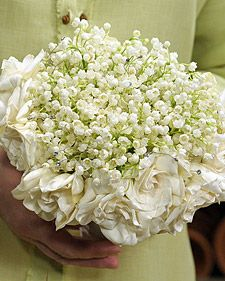 Lily of the Valley bouquet. My grandma's favorite flower was LOTV, and it's mine too. I've never seen a bouquet like this. So simple and pretty.