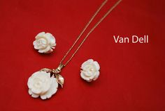 Van Dell Cream White Celluloid flower Necklace and Pierced earring set 12 kt gold filled