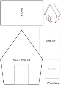 Template for gingerbread house 2 | Free printable for Christmas