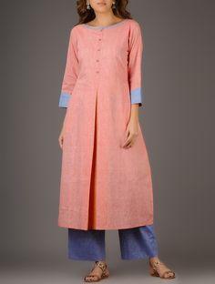 Buy Pink Inverted Box Pleated Khadi Cotton Kurta Women Kurtas A Chic Wardrobe…