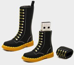 We probably couldn't pull them off in public anymore, but we still like the design. Enter the Boot Drive. It's a 2GB USB drive cleverly encased in a 2″ tall Dr. Martens boot that's made out of what appears to be rubber.