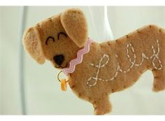 Personalized Dachshund Felt Dog Ornament