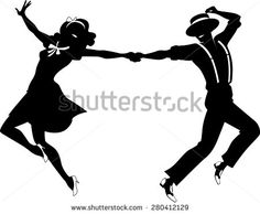 Black vector silhouette of a couple dancing swing or tap dance, no white objects, EPS 8 - stock vector