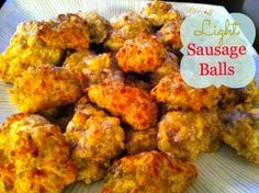 Favorite easy appetizer to bring to a Christmas party. 4 ingredient lightened up sausage balls. Prepare to share the recipe! #recipe #appetizer