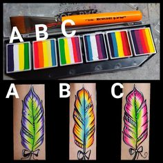 Face Painting Images, Face Painting Tips, Girl Face Painting, Belly Painting, Feather Painting, Face Painting Designs, Paint Designs, Christmas Face Painting, Face Paint Makeup