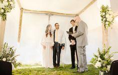 Sarah and Dan during wedding ceremony