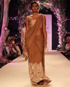 Dark Beige Georgette stitched Sari $3,364