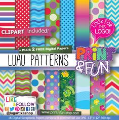 #digitalpaper #partyprintables #imprimibles #scrapbooking #backgrounds #patterns #fondos #fiestasinfantiles #fiestastematicas #invitations #invitaciones #partyideas #Luau Patterns #Hawaiian #liloandstitch #lilo #clipart Digital Paper jungle clip art por Printnfun