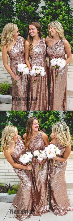 Sequin One Shoulder A-Line Floor Length Bridesmaid Dress, Shiny Bridesmaid Dresses, VB0313 #bridesmaiddresses