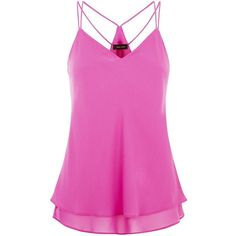 Purple Double Strap Layered Cami ($8.96) ❤ liked on Polyvore featuring intimates, camis, tops, tank tops, camisoles, tanks, pink, layering camisole, layering cami and v neck cami