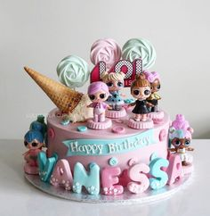 Suggestions to be Inspired for 1 Age Girl's Cake Selection! Doll Birthday Cake, Funny Birthday Cakes, Homemade Birthday Cakes, Cupcake Cakes, Fondant Cakes, Lol Doll Cake, Surprise Cake, Girl Cakes, Buttercream Cake