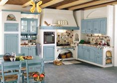 Decorating Kitchen French Country Style Design : Interesting Kitchen French Country Style Design With Blue Cabinet Kitchen And Dining Set As Well Gray Ceramic Tile Floor And Brown Granite Countertop Backsplash And Lighting Idea Under Cabinet<br>