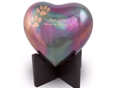 OneWorld Memorials Arielle Raku Finish with Paw Prints Bronze Heart Pet Urn - Small - Holds Up to 20 Cubic Inches of Ashes - Raku Blue Pet Cremation Urn for Ashes - Engraving Sold Separately Memorial Urns, Dog Memorial, Pet Cremation Urns, Cremation Ashes, Raku Raku, Dog Urns, Pet Ashes, Pet Memorials, Custom Engraving