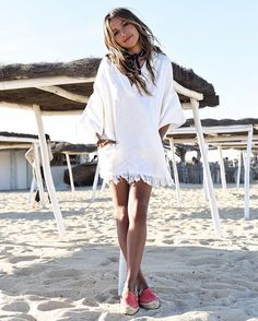Fringed white tunic and pop red espadrilles take a tip in start of summer dressing from @sincerelyjules | Get ready-to-shop details with www.LIKEtoKNOW.it | http://liketk.it/2osFV #liketkit by liketoknow.it