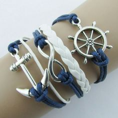 On the Boat, Silver Infinite Bracelet Nautical Rudder Anchor Blue Leather Rope Bangle, Item Type: Bracelets, Leather Leather Cord Bracelets, Woven Bracelets, Fashion Bracelets, Fashion Jewelry, Bangles, Blue Bracelets, Charm Bracelets, Fashion Fashion, Cheap Fashion