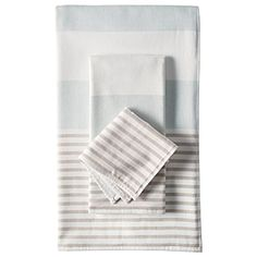 Pretty stripped towels. Love the muted tones.