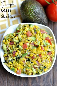 Simple Corn Salsa - bursting with fresh flavors!  Super easy to whip up and serve with tortilla chips or as a topping on tacos, burrito bowls or baked fish.