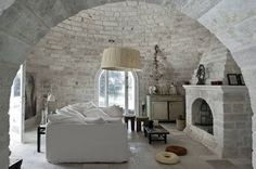interior design, castl, living rooms, arch, brick, stone walls, fireplace room, dream houses, summer houses