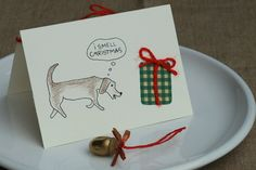 Christmas Card I smell Christmas with Cute Dog by IsePaperAndCraft, €18.00