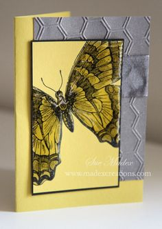 handmade card ... yellow and gray ... huge butterfly covered with Crystal Effects ....background panel with honeycomb embossing and shimmer sprayed on ... Stampin' Up!