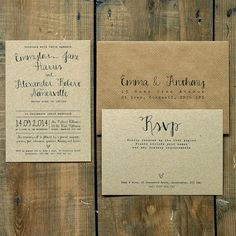 Calligraphy - Wedding Invitation & Save the Date - On Brown Kraft Recycled Card on Etsy, 1,86 €
