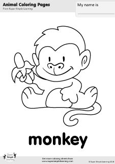 Free Monkey Coloring Page From Super Simple Learning Tons Of Animal Worksheets And Flashcards