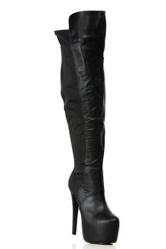 Black Faux Leather Thigh High Platform Boots @ Cicihot Boots Catalog:women's winter boots,leather thigh high boots,black platform knee high boots,over the knee boots,Go Go boots,cowgirl boots,gladiator boots,womens dress boots,skirt boots. Thigh High Platform Boots, Thigh High Boots, High Heel Boots, Over The Knee Boots, Bootie Boots, Black Platform, High Heels, Grey Booties, Ankle Boots