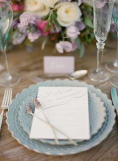 lavender and mint place setting with vintage silverware | featured on once wed | Styling by @TOAST