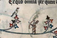 "Hare Marginalia. ""Miracles of Our Lady"" of Gautier Coinci, 13th century. Tiré du Manuscrit du XIIIe siècle"