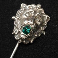 Lion Stick Pin Vintage Sterling Silver William Link