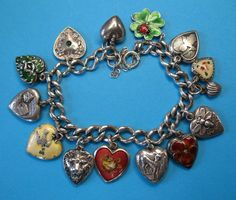 Fabulous Vintage Sterling Silver Puffy Heart charm Bracelet - Rare Charms - 2800 usd