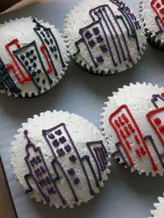 New York Cupcakes Sweet 16 Parties, Grad Parties, Congrats On New Job, New York Theme Party, Black White Parties, Themed Cupcakes, Party Themes, Party Ideas, Graduation Ideas