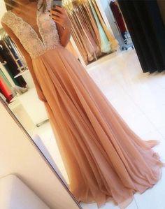 Charming Floor Length Formal Prom Dresses V-Neck Sheath/Column TopBeaded…