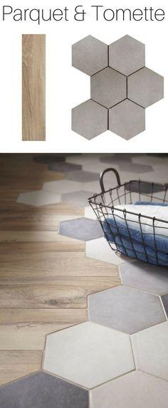 Idée décoration et relooking salle à manger Tendance Image Description Une alliance tendance pour le sol : parquet & tomette