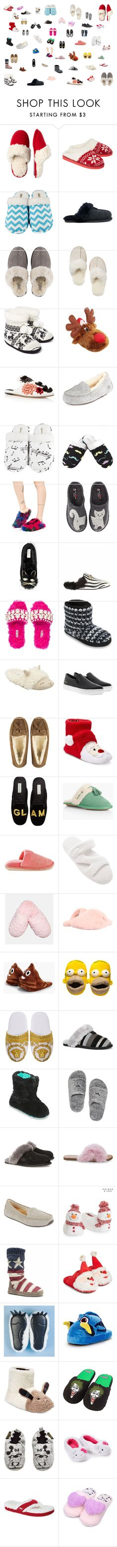 """""""My Slipper Collection 1"""" by molly2853 ❤ liked on Polyvore featuring Dearfoams, Hot Kiss, Leisureland, UGG, Sanayi 313, Lust For Life, Haflinger, Kate Spade, Gucci and Miu Miu"""