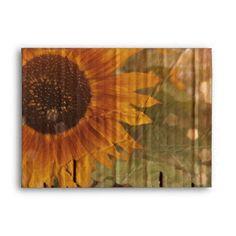 rustic cardboard country sunflower wedding envelope